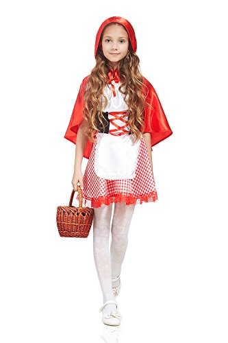 Kids Girls Little Red Riding Hood Costume Cape Fairy Tale Party Outfit & Dress Up (6-8 years, Red, White, Black, Plaid) (Little Red Riding Hood Cool School)