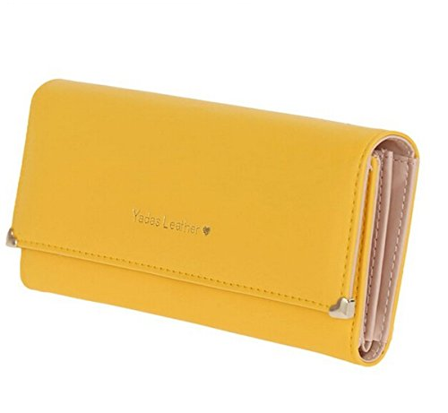 Zando Women Classic Trifold Leather Long Clutch Wallet Card Holder Purse Handbag ()