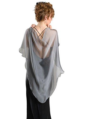 Silver Grey Chiffon Fluttering Triangular Shawl Wrap for Evening Dress by Lena Moro