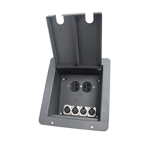 EliteCoreAudio FB4+AC Recessed Floor Box with 4 XLR, 1 Duplex AC (Xlr Floor Box)
