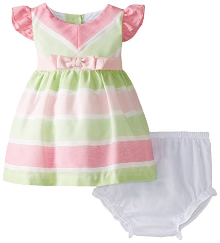 Tie Back Linen Dress (Rare Editions Baby Baby Girls' Striped Linen Dress, Multi Color, 24 Months)