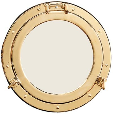 11.5'' Polished Brass Nautical Porthole Mirror by HS