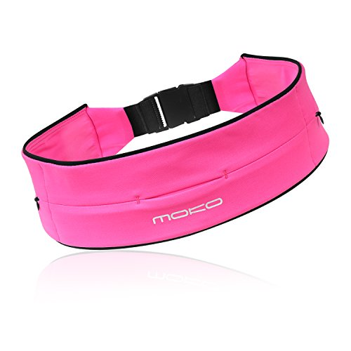 Running Waist Pack, MoKo 3 Pockets Runners Bag Fanny Pack, Fitness Workout Belt for Men & Women, Hiking, Jogging, Travel, Fishing, Fit iPhone X/8 Plus/7/6S Plus, Galaxy S9/S9+ & More - Medium, Magenta