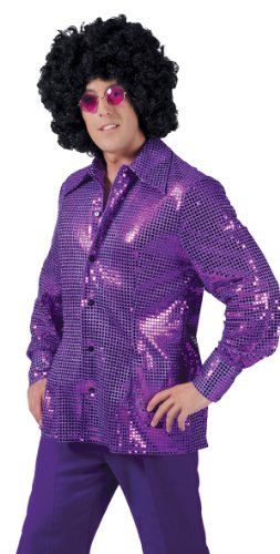 Deep Purple Disco Costume Shirt - Adult (70s Disco Mama Adult Costumes)