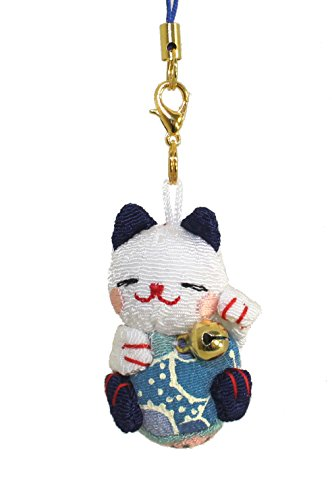 Lucky Cat Smartphone Cell Phone Charm (White/Blue)