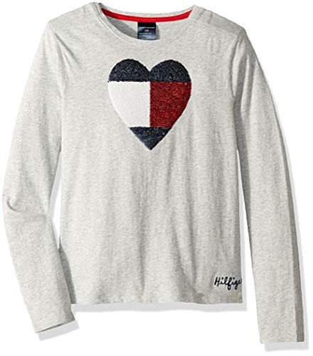 fa814961 Tommy Hilfiger Girls Long Sleeve T Shirt with Adjustable Shoulder Closure,  heather grey Medium