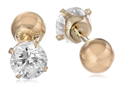 Yellow Gold Twist Earrings (14k Yellow Gold Cubic Zirconia Reversible Stud Earrings (1/2 cttw))