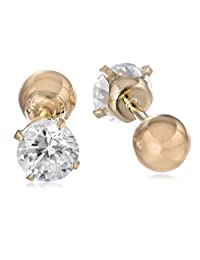 14k Yellow Gold Cubic Zirconia Reversible Stud Earrings