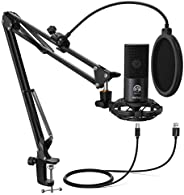 FIFINE Recording USB Microphone For Computer PC Studio Kit With Mic Pop Filter Suspension Boom Scissor Arm for