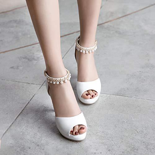 Zpfme Mariage Sandales Bureau Dames Plateforme Blanc Talon Femmes Moyen Élégantes Col Soirée De Chaussures UrqwR6Un