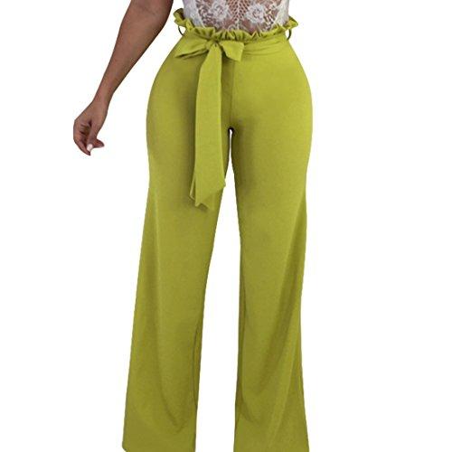 Pantalons Pallazo Bois Vert Capri Ai Taille Femmes moichien Haute Lien Avec Pwanp