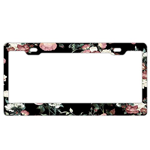 - Vintage Pink And Cream Dark Floral License Plate Frame Vintage Flowers Stainless Steel, Car Tag Cover,License Plate Frame For Women, License Plate Covers For Us Vehicles Standard