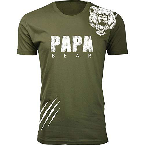 Men's Papa Bear Scratch Dad T-Shirts - Military Green / 3XL