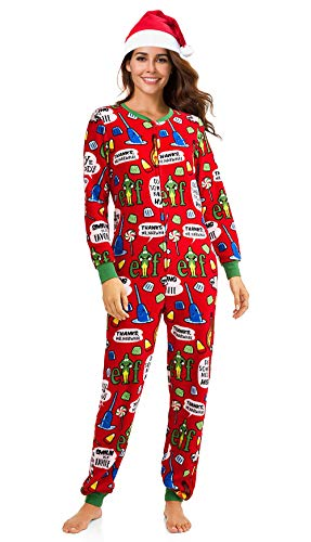 MJC Women's Licensed Christmas Pajama Set Grinch, Elf, Frosty, Rudolph Unionsuit with Silky Santa Hat (Red, XXL (18W-20W))
