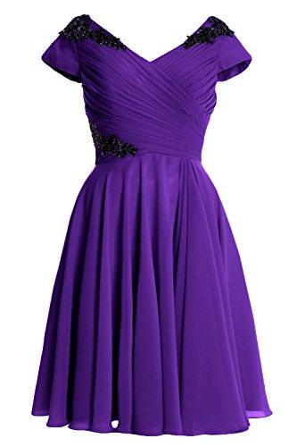 Elegant of Sleeve Bride Cap Dress Gown Violett Short Mother MACloth Cocktail Formal XqdBpx