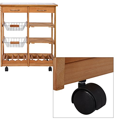 Portable Kitchen Island A Rolling Cart With Countertop: Portable Rolling Wooden Kitchen Trolley Cart Countertop