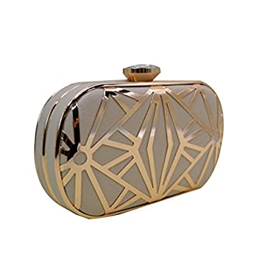 Mily Elegant Leather Metal Hollow Out Clutch Evening Bag