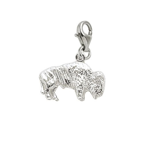 Rembrandt Charms Buffalo Charm with Lobster Clasp, Sterling Silver