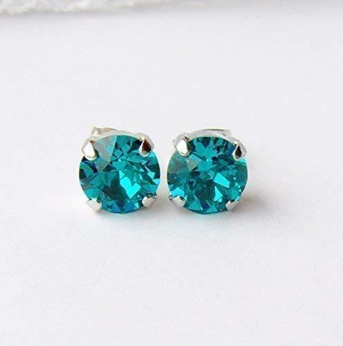 25aee0a72 Amazon.com: 8mm Teal Blue rhinestone stud earrings made with Swarovski  crystals: Handmade