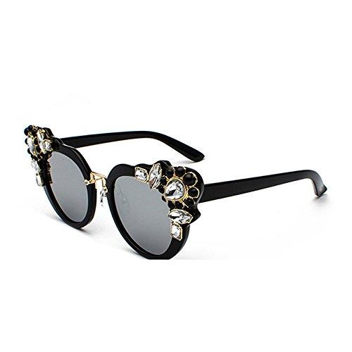 Color Women Sunglasses Retro Brand Designer Diamond Vintage Cat Eye Glasses UV (Designer Retro Clothing)