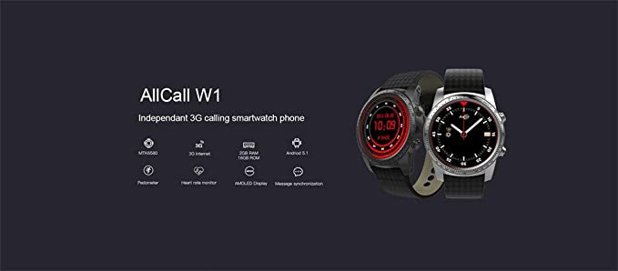 Amazon.com: YNAA AllCall W1 Daily Waterproof 3G Smartwatch ...
