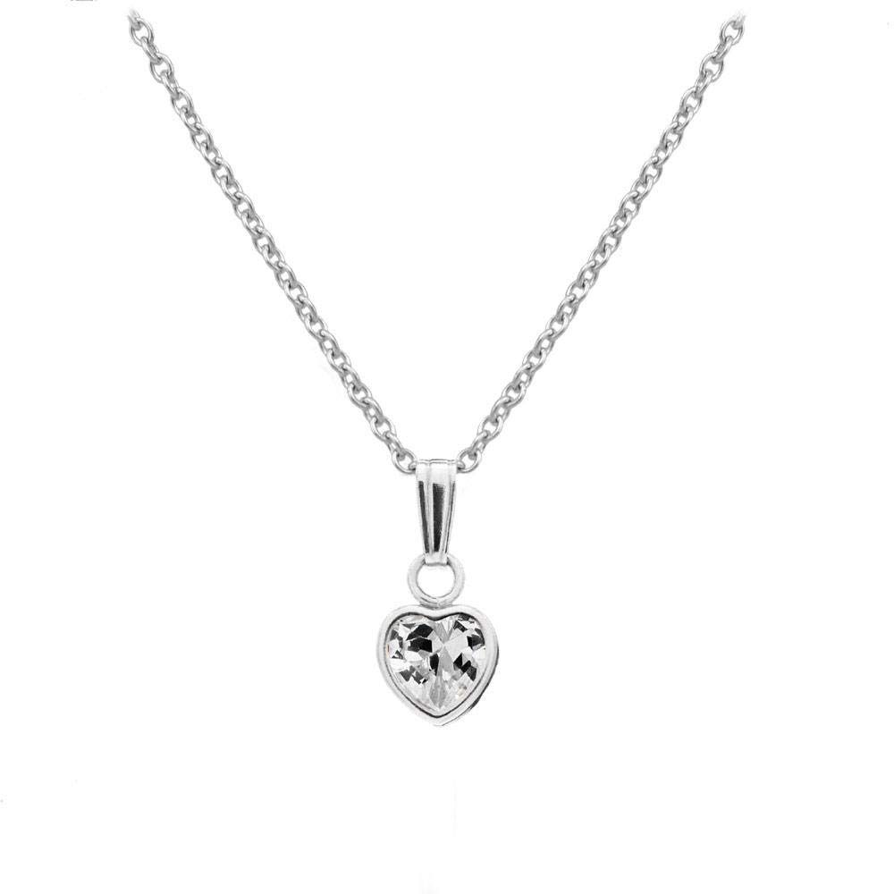 13 In Little Girls Sterling Silver Simulated Birthstone Heart Pendant Necklace