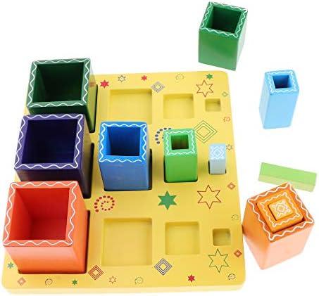 CUTICATE 就学前または家庭用の感覚教育補助用の木製教育用スタックおよび並べ替えボード(正方形)