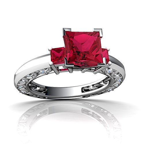 14kt White Gold Lab Ruby and Diamond 3mm Square Art Deco Ring - Size 8 ()