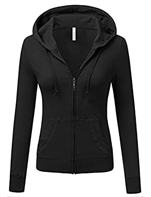 TL Women's Knit Stretch Zipper Solid Casual Zip-Up Hoodie Jackets in Colors