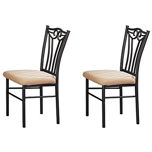 - Poundex Shannon Series Dining Chair in Charcoal Iron Finish European Style, Set of 2