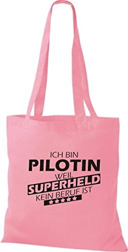 Shirtstown Stoffbeutel Ich bin Pilotin, weil Superheld kein Beruf ist rosa
