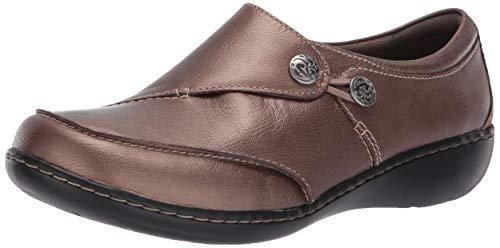 Clarks Leather Slip - CLARKS Women's Ashland Lane Q Slip-On Loafer, Black, 6.5 M US