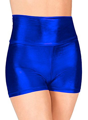 Blue Morphsuit Costume Ideas (Marvoll Women's High Waist Metallic Dance Short (Medium, Blue))