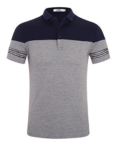 ELETOP(エリトップ) ポロシャツ メンズ 半袖 カジュアル スポーツウェア 綿 ゴルフウェア 鹿プリント + 配色