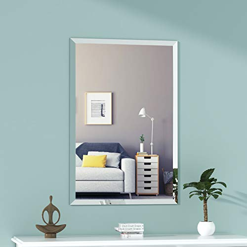 KOHROS Rectangle Beveled Polished Frameless Wall Mirror for Bathroom, Vanity, Bedroom (20