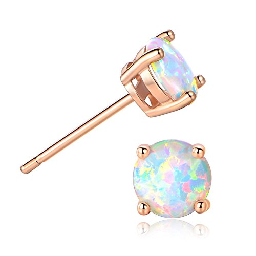 Ghome 18K Rose Gold Plated Created Opal Stud Earrings 6MM Round For Women (Rose Gold) (Best Earrings For Large Earlobes)