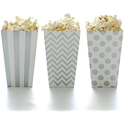 Popcorn Boxes, Silver Design Trio (36 Pack) - Movie Theater Style Popcorn Cartons for Dessert Tables & Wedding Favors