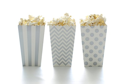 Popcorn Boxes, Silver Design Trio (36 Pack) - Movie Theater Style Popcorn Cartons for Dessert Tables & Wedding ()