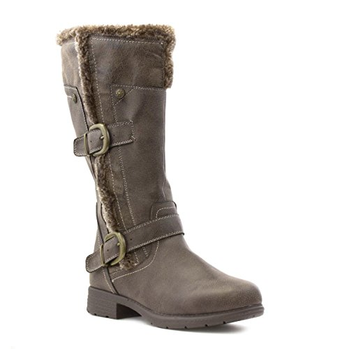 Lilley Womens Brown Fur Lined Casual High Leg Boot Brown