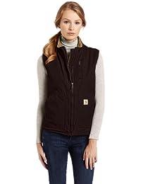 Womens Sandstone Mock Neck Sherpa Lined Zip Front Vest