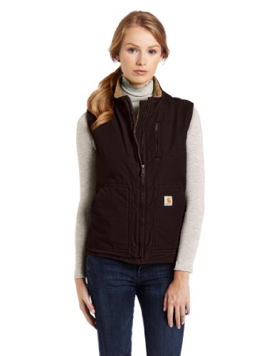 Carhartt Women's Sherpa Lined Sandstone Mock Neck Vest Zip Front WV001,Dark Brown,Large by Carhartt