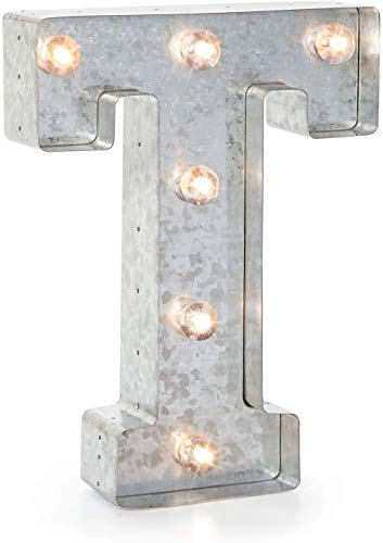 Darice Silver Metal Marquee Letter T VintageStyle Lighted Marquee Letter with On/Off Switch Ideal for Weddings Special Events and Room Décor Galvanized Metal Finish 987 Inch Tall