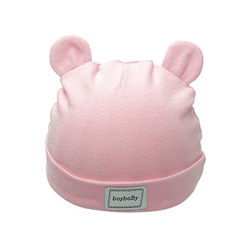 Iridescentlife Cotton Crochet Newborn Hats Solid Ear Baby Beanie Girls Boys (Pink),One Size