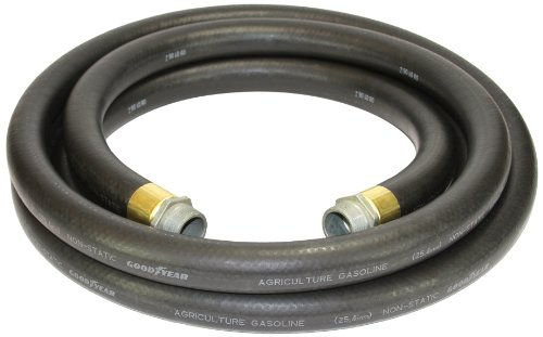 - Goodyear 1729-1000-12 Farm Fuel  1-Inch by 12-Feet Transfer Hose with Threaded Male Couplings on Both Ends, Black