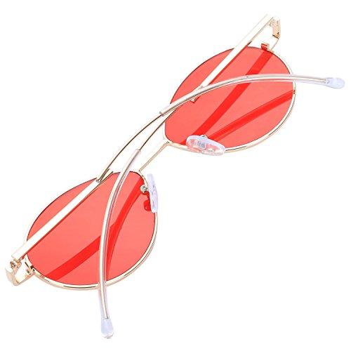 lujo Disenador Sombras rojo Oval Negro de sol Alta sol Mujeres Gafas de plegado de calidad Moda Pierna Gafas Espejo TOOGOO la de marca de xpq1pOwI