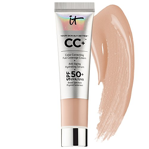 It Cosmetics Your Skin But Better CC+ Color Correcting Full Coverage Cream With Anti Aging Hydrating Serum! Shade Light! One 12ml Tube! (Travel Size) Perfect For Covering Up Imperfections!