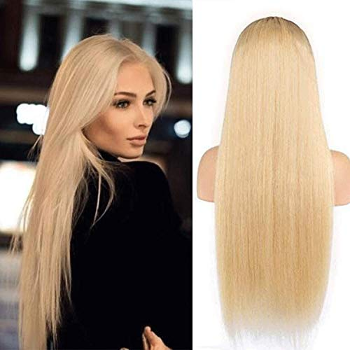Dream Beauty Hair Ombre #6/27 Straight Human Hair Front Lace Wigs For Black Women Middle Part Brazilian Virgin Hair Two Tone Wig With Baby Hair (16'', Full Lace - Wig Dream