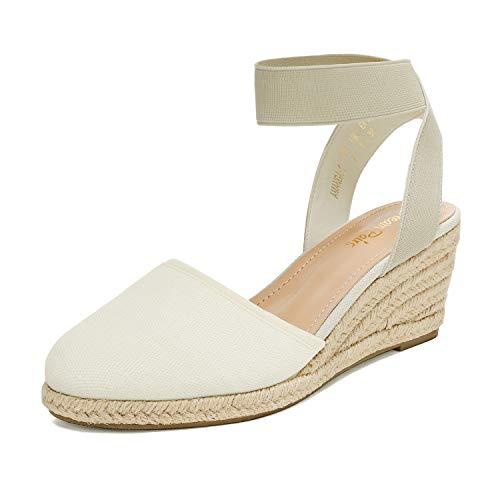DREAM PAIRS Women's Elastic Ankle Strap Espadrilles Wedge Sandals