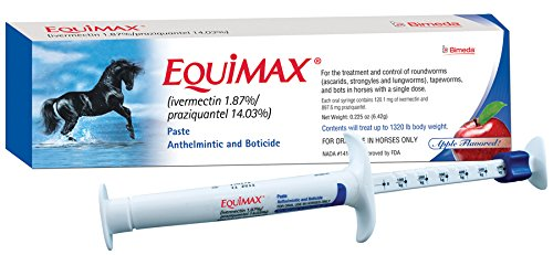 Equimax 6.42 Gms Paste Apple Flavored Horse Dewormer Tapeworms Use in Foals, Mares, Including Pregnant and Lactating Mares, Ponies ()