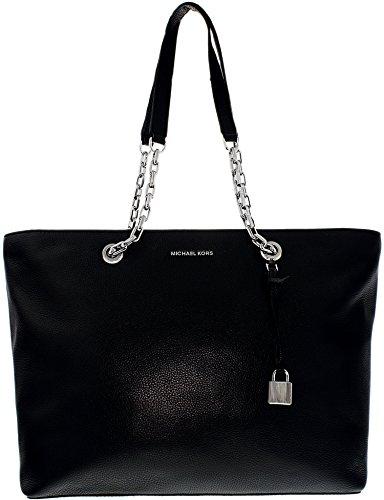 Michael Michael Kors Mercer Medium Leather Shoulder Bag (Shoulder Bag Leather Black Chain Link)